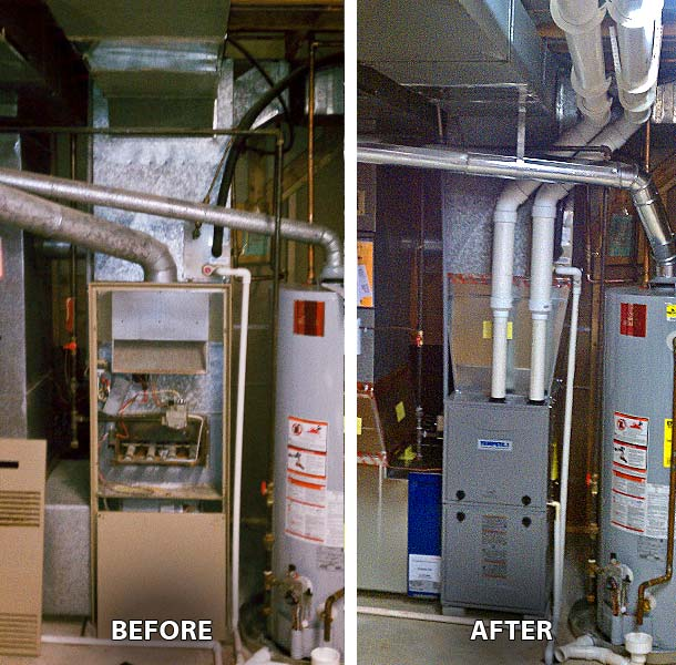 Before and After furnace replacement