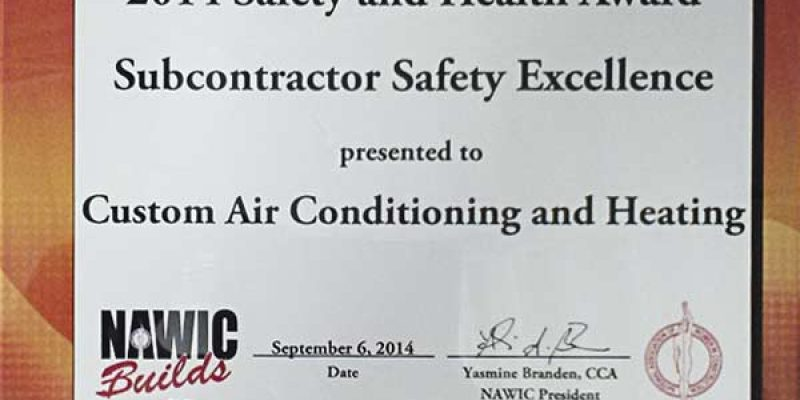 Custom Air adds to our safety record with latest NAWIC award