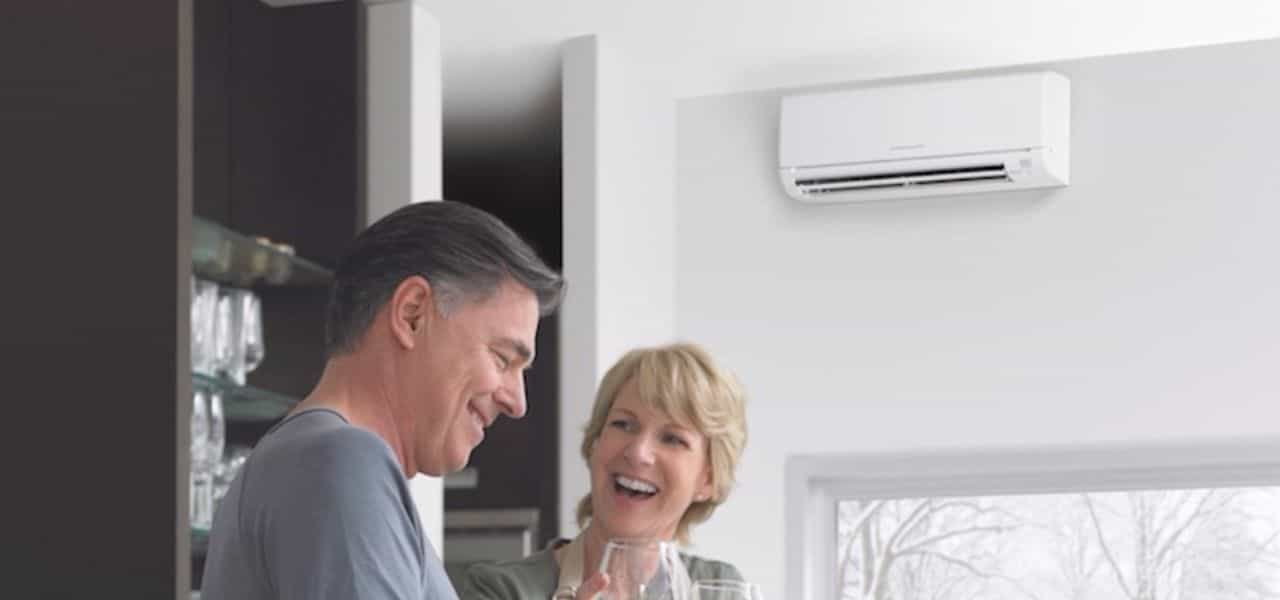 Mitsubishi ductless Columbus air conditioning system and laughing couple